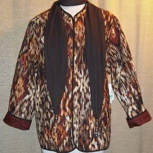 NWT reversible open jacket 3x 28W artsy cotton NEW